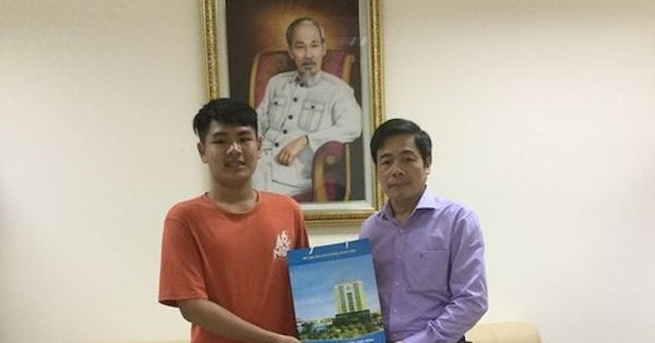 Minh Hiếu trong hình ảnh một cậu sinh viên tương lai của Đại học Y Thái Bình