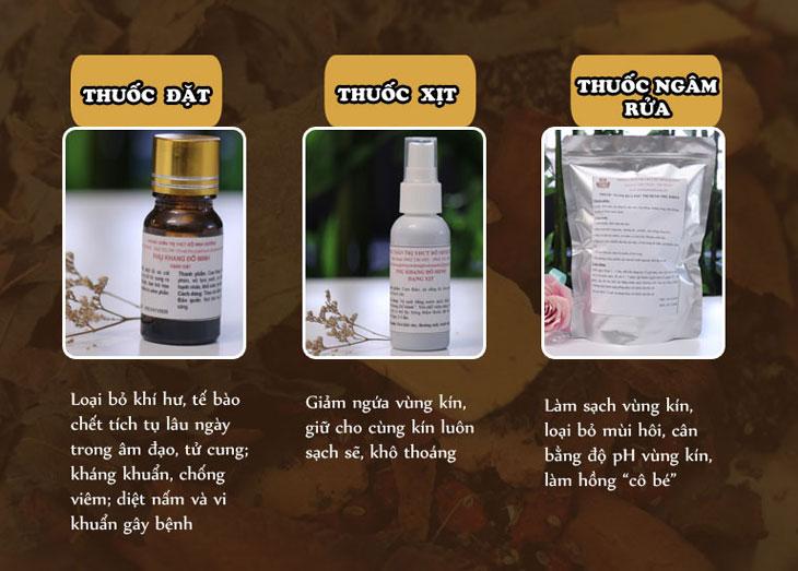 Tác dụng thuốc đặt, thuốc xịt và thuốc ngâm rửa Phụ Khang Đỗ Minh