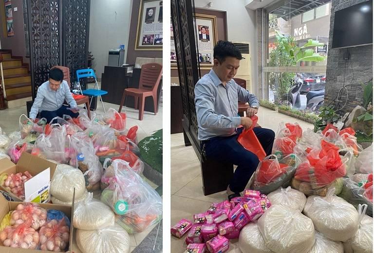 Quá trình chuẩn bị các phần quà để gửi tặng đến hoàn cảnh khó khăn